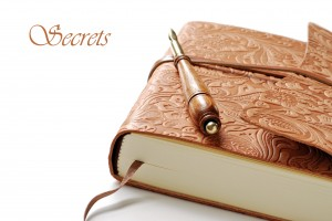 Elegant leather journal with calligraphy pen on white background